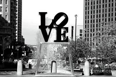 Philadelphia Love Bw Print by John Rizzuto