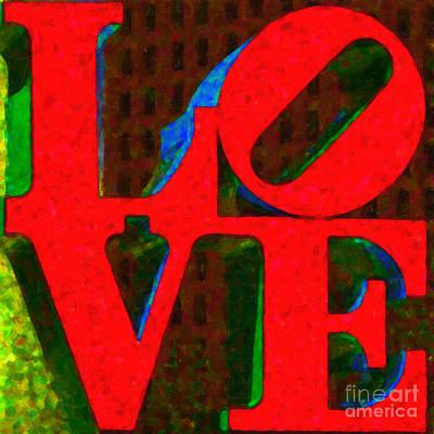 Love Park Digital Art - Philadelphia Love - Painterly V1 by Wingsdomain Art and Photography