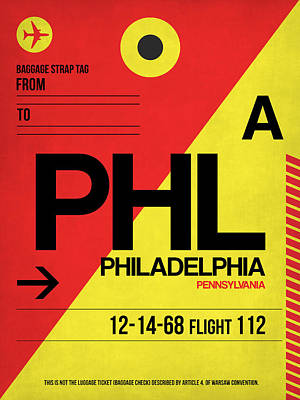 Philadelphia Mixed Media - Philadelphia Luggage Poster 2 by Naxart Studio