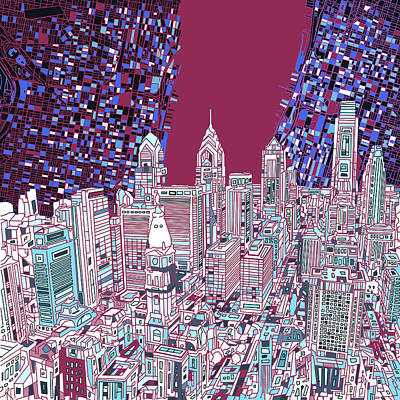Philadelphia Skyline Mixed Media - Philadelphia Map Panorama 2 by Bekim Art