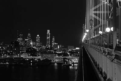 Philly Skyline Photograph - Philadelphia Night B/w by Jennifer Ancker