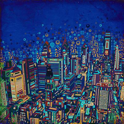 Philly Skyline Painting - Philadelphia Panorama Pop Art 2 by Bekim Art