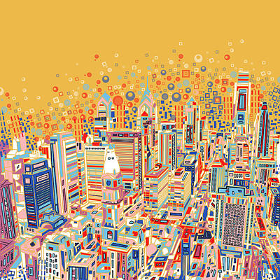 Philly Skyline Painting - Philadelphia Panorama Pop Art by Bekim Art