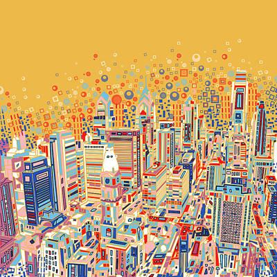 Philadelphia Panorama Pop Art Print by Bekim Art