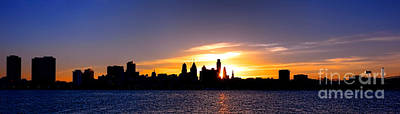 Philadelphia Skyline Photograph - Philadelphia Panoramic Sunset by Olivier Le Queinec