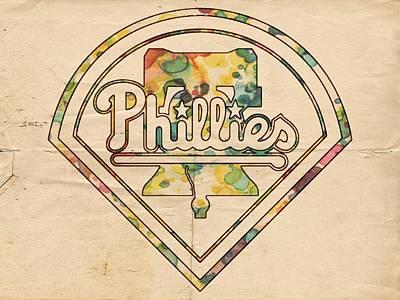 Bat Digital Art - Philadelphia Phillies Poster Vintage by Florian Rodarte
