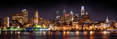 Philadelphia Philly Skyline At Night From East Color Print by Jon Holiday