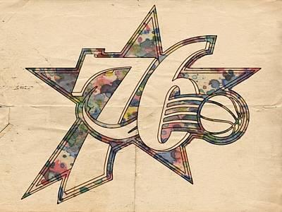 Philadelphia Painting - Philadelphia Sixers Poster Art by Florian Rodarte