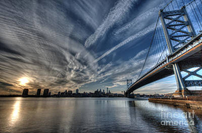 Philadelphia Skyline - Camden View Of Ben Franklin Bridge Print by Mark Ayzenberg