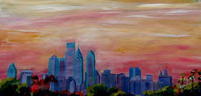 Philadelphia Skyline Painting - Philadelphia Skyline At Dusk by M Bleichner