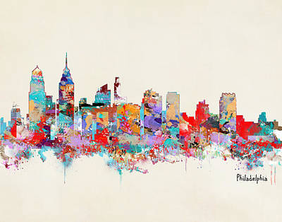 Philadelphia Skyline Painting - Philadelphia Skyline by Bri B
