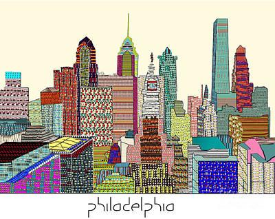 Philadelphia Skyline Digital Art - Philadelphia Skyline by Bri B