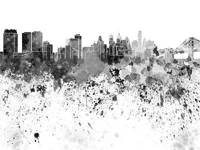 Philadelphia Skyline Painting - Philadelphia Skyline In Black Watercolor On White Background by Pablo Romero