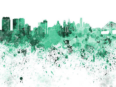 Philadelphia Skyline Painting - Philadelphia Skyline In Green Watercolor On White Background by Pablo Romero