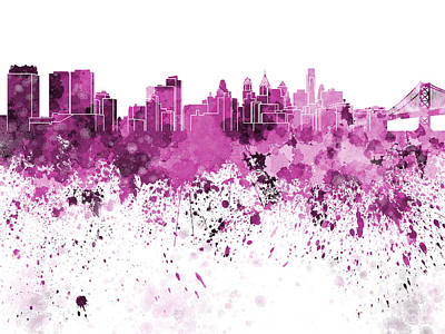 Philadelphia Skyline Painting - Philadelphia Skyline In Pink Watercolor On White Background by Pablo Romero