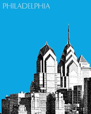 Philadelphia Skyline Liberty Place 1 - Ice Blue Print by DB Artist