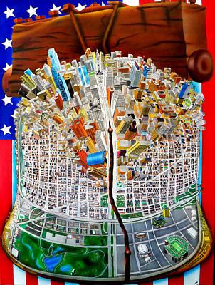 Bell Center Painting - Philadelphia World by Brett Sauce