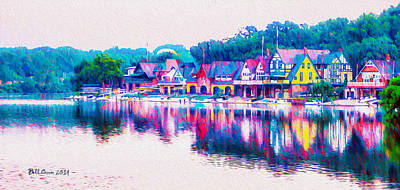 Philadelphia's Boathouse Row On The Schuylkill River Print by Bill Cannon