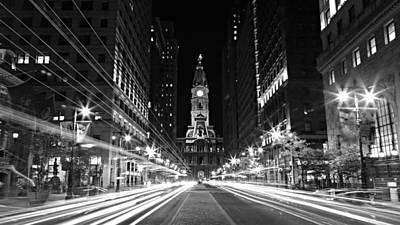 Philadephia City Hall -- Black And White Print by Stephen Stookey
