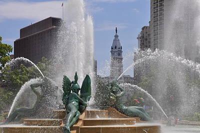 Cityhall Digital Art - Philly Fountain by Bill Cannon