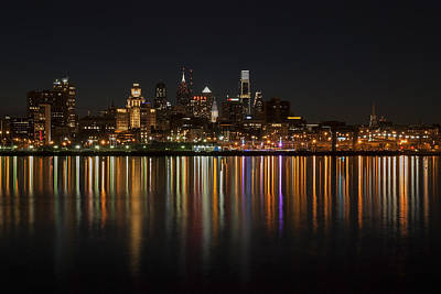 Philadelphia Skyline Photograph - Philly Night by Jennifer Ancker