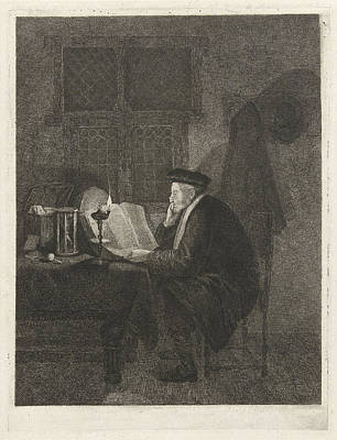 Philosopher In His Study, Johannes Pieter De Frey Print by Johannes Pieter De Frey And Quiringh Gerritsz. Van Brekelenkam