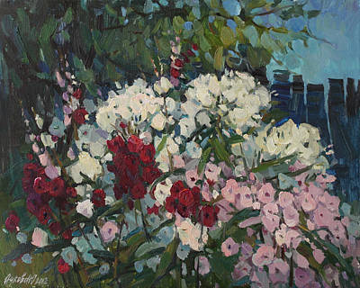 Phlox Painting - Phloxes In The Garden by Juliya Zhukova