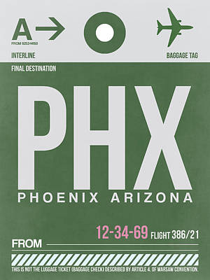Phoenix Mixed Media - Phoenix Airport Poster 2 by Naxart Studio