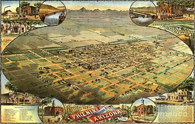 Phoenix Drawing - Phoenix Arizona - 1885 by Pg Reproductions