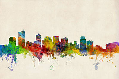 Phoenix Digital Art - Phoenix Arizona Skyline by Michael Tompsett