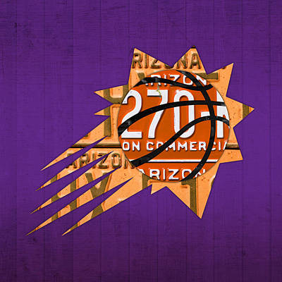 Phoenix Mixed Media - Phoenix Suns Basketball Team Retro Logo Vintage Recycled Arizona License Plate Art by Design Turnpike