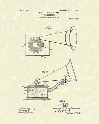 Player Drawing - Phonograph 1908 Patent Art by Prior Art Design