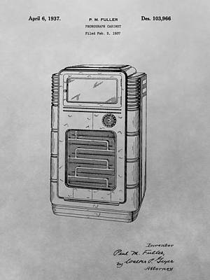 Player Drawing - Phonograph Cabinet Patent Drawing by Dan Sproul
