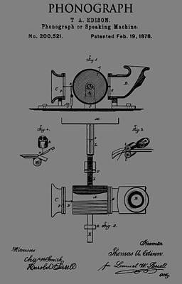 Player Drawing - Phonograph Patent by Dan Sproul