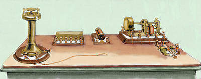 Phonoplex Telegraph Invented By Thomas Print by Prisma Archivo