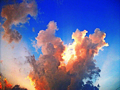 Digitally Manipulated Mixed Media - Photo Manipulated Equalized Pink Clouds by Skyler Tipton