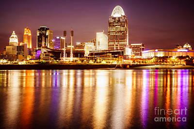 Photo Of Cincinnati Skyline At Night Print by Paul Velgos