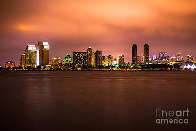 Photo Of San Diego At Night Print by Paul Velgos