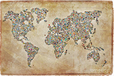 Photographer World Map Print by Delphimages Photo Creations