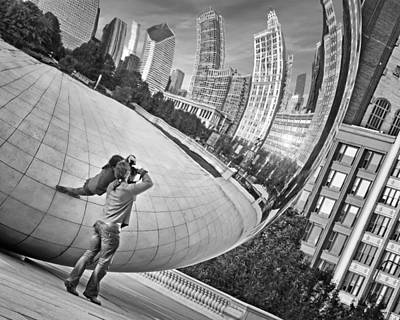 Photographing The Bean - Cloud Gate - Chicago Print by Nikolyn McDonald