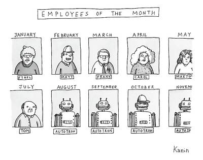 Award Drawing - Photos Of The Employees Of The Month. Beginning by Zachary Kanin