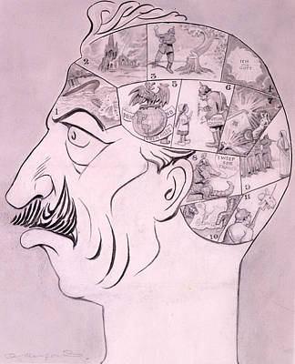 Tears Drawing - Phrenological Chart Of The German by Oliver Herford