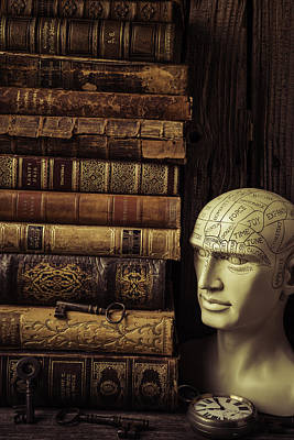 New Mind Photograph - Phrenology Head And Old Books by Garry Gay