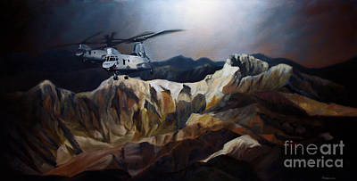 Helicopter Painting - Phrogs Over Afghanistan by Stephen Roberson