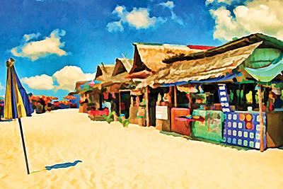Umbrellas Digital Art - Phuket Thailand Beach by Flo Karp