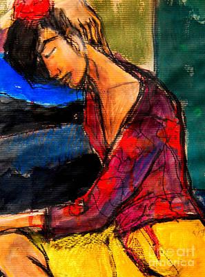 Blouse Mixed Media - Pia #3 - Detail - Figure Series by Mona Edulesco