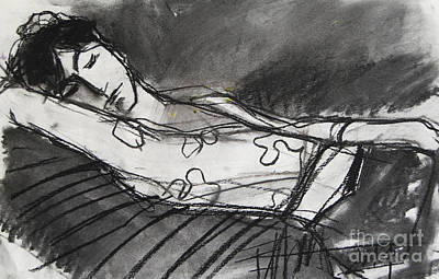 Reclining Drawing - Pia #5 - Figure Series by Mona Edulesco
