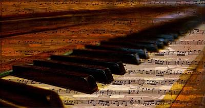 Old Sheet Music Mixed Media - Piano And Music by FL collection