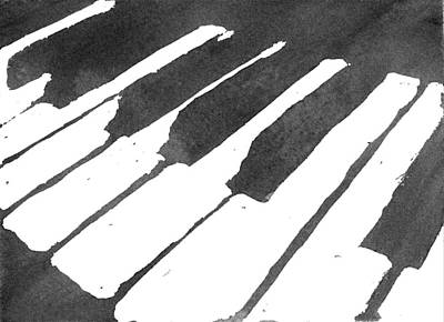 Wash Drawing - Piano Keys by Calvin Durham