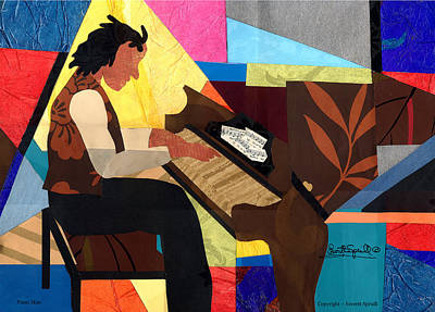 Lino-cut Painting - Piano Man by Everett Spruill